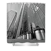 Canary Wharf Financial District In Black And White Shower Curtain