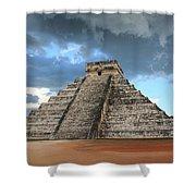 Cancun Mexico - Chichen Itza - Temple Of Kukulcan-el Castillo Pyramid 3  Shower Curtain
