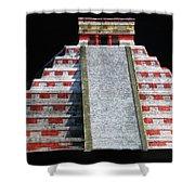 Cancun Mexico - Chichen Itza - Temple Of Kukulcan-el Castillo Pyramid Night Lights 1 Shower Curtain