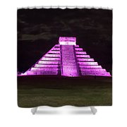 Cancun Mexico - Chichen Itza - Temple Of Kukulcan-el Castillo Pyramid Night Lights 2 Shower Curtain