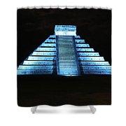 Cancun Mexico - Chichen Itza - Temple Of Kukulcan-el Castillo Pyramid Night Lights 3 Shower Curtain
