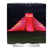 Cancun Mexico - Chichen Itza - Temple Of Kukulcan-el Castillo Pyramid Night Lights 4 Shower Curtain