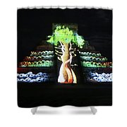 Cancun Mexico - Chichen Itza - Temple Of Kukulcan-el Castillo Pyramid Night Lights 5 Shower Curtain