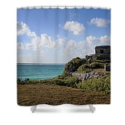 Cancun Mexico - Tulum Ruins - Temple For God Of The Wind 1 Shower Curtain