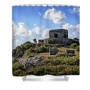 Cancun Mexico - Tulum Ruins - Temple For God Of The Wind 2 Shower Curtain