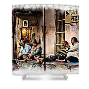 Candid Bored Yawn Pj Exotic Travel Blue City Streets India Rajasthan 1a Shower Curtain