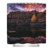 Candle Lit Lake Shower Curtain
