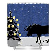 Candlelit Christmas Tree And Moose In The Snow Shower Curtain
