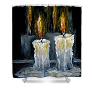 Candles Oil Painting Shower Curtain
