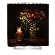 Candlestick And Roses Shower Curtain
