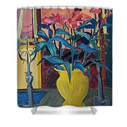 Candlesticks And Blossoms Shower Curtain