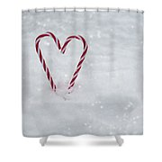Candy Canes In Snow Shower Curtain