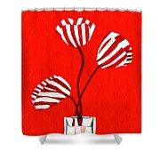 Candy Stripe Tulips Shower Curtain