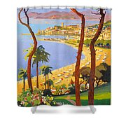 Cannes Vintage Travel Poster Shower Curtain