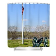 Cannon And Flagpole Overlooking River Shower Curtain