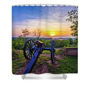 Cannon At Sunset Shower Curtain