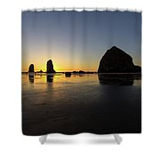Cannon Beach Low Tide Sunset Shower Curtain