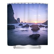 Cannon Beach Rocks Sunset Shower Curtain