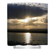 Cannon Beach Sunburst Shower Curtain
