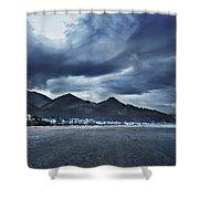 Cannon Beach Under Clouds Shower Curtain