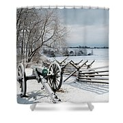 Cannon Under Snow Shower Curtain