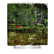 Canoe Among The Reeds Shower Curtain