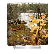 Canoe At Little Bass Lake Shower Curtain by Larry Ricker