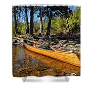 Canoe At Portage Landing Shower Curtain by Larry Ricker