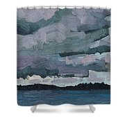 Canoe Lake Rain Clouds Shower Curtain