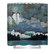 Canoe Lake Rain Shower Curtain