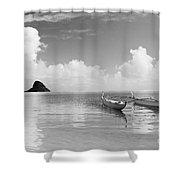 Canoe Landscape - Bw Shower Curtain