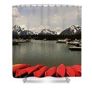 Canoe Meeting At Jackson Lake Shower Curtain