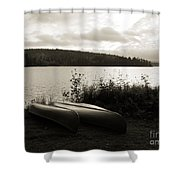 Canoe On A Shore Of A Lake At Dawn Shower Curtain