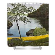 Canoe On The Bay Shower Curtain