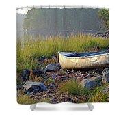 Canoe On The Rocks Shower Curtain