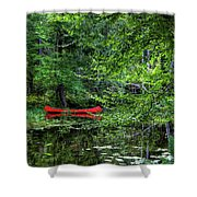 Canoe On The Shore Shower Curtain