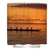 Canoe Paddlers Silhouette Shower Curtain