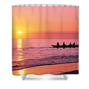 Canoe Paddlers Shower Curtain