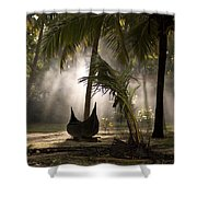 Canoe Under Palm Trees In Kerala, India Shower Curtain