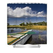 Canoeing In The Everglades Shower Curtain by Debra and Dave Vanderlaan