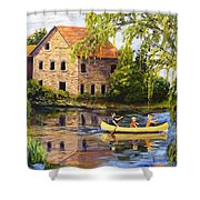 Canoeing Past The Mill Shower Curtain