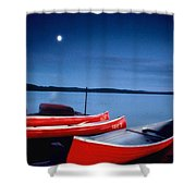 Canoes And Moon 87 Shower Curtain
