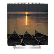 Canoes At Sunrise Shower Curtain