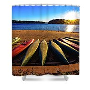 Canoes At Sunset Shower Curtain