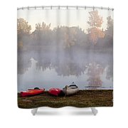 Canoes By A Foggy Lake In Autumn Shower Curtain