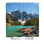 Canoes On A Jetty At  Moraine Lake In Banff National Park, Canada Shower Curtain