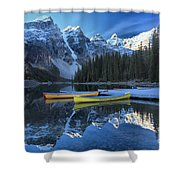 Canoes Under The Peaks Shower Curtain