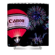 Canon - See Impossible - Hot Air Balloon With Fireworks Shower Curtain