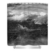 Canyon In Clouds Bw Shower Curtain