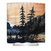 Canyon Trees, Watercolor Shower Curtain